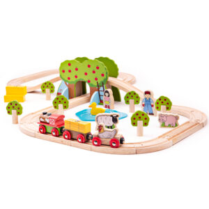 Story-telling and creative play is never ending with this Farm Train Set. Youngsters can drive the farm train through the apple orchards and help the farmer deliver hay bales before stopping for a rest by the duck pond.