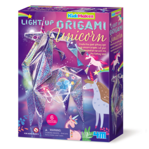 Create this giant glittery, holographic light-up unicorn origami. The unicorn has ready made crease lines and pre-cut holes, colourful stickers and colour changing LED string lights.