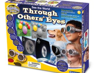 22 interchangeable lenses allow you to see in more than 17 different ways – or create your own! Lenses include wide angle, coloured, polarised, split vision, faceted, spectrum and more. Learn about the science of sight with a full-of-facts leaflet.