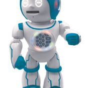 The Powerman Kid is an interactive robot with many educational activities and incredible features to discover! He speaks English and Spanish, tests your knowledge with multiple quizzes and can create more than 10,000 stories. He can also dance and sing!