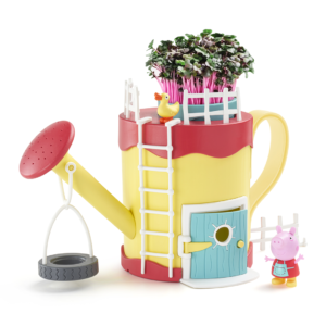 Peppa's Garden Playhouse is a great playset for little ones to grow and nurture their own edible plant! Peppa can play inside the watering can, on the tyre swing or visit Mrs Duck in the pond.