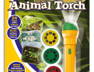 This fantastic projector torch projects amazing images of animal wildlife around your room. Includes three slide discs with 24 colour animal photographs which project up to one metre wide on your walls and ceilings including giraffes, elephants, alligators and more.