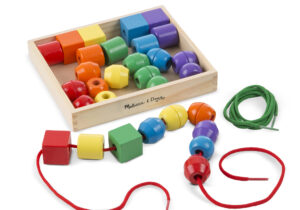 Thirty wooden beads in six vibrant colours and five distinct shapes combine with two extra-long laces for many activities. Stringing the easily grasped beads promotes eye-hand coordination, fine motor, cognitive and visual perception skills.