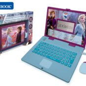 An educational and realistic laptop with 124 activities (62 in each language) for a fun and interactive learning experience with Anna and Elsa! The educational content contains English, French, mathematics, dactylography, logic, music and games in the Frozen 2 universe.