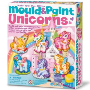 Create your own Plaster of Paris Unicorn magnets and badges by using the mould, plaster, paints and brush included in the kit.