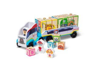 Paw Patrol themed truck and trailer. 3 wooden figures and 28 wooden ABC blocks. Blocks have alphabet letters, numerals and puzzle art. Wooden dowels on the trailer hold blocks in place