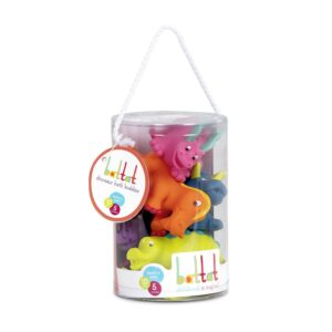These six brightly coloured Battat Dinosaur Bath Buddies promise lots of bath time fun! Squeeze them gently underwater and watch the bubbles rise or go all out with a full-scale squirting contest! These are great for indoor or outdoor use.
