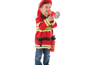 """Here is everything your firefighter needs in an emergency: a bright red, machine-washable jacket with reflective material, a fire chief helmet, a """"fire extinguisher"""", a bullhorn with sound effects and a name tag for personalising."""