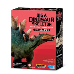Become palaeontologist and dig out the dinosaur.  Contains a digging tray, digging tools, fun facts and a razor backed Stegosaurus skeleton about 17 cm long when assembled. Eye-catching re-pack, 6 titles in range.