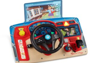 """Paw Patrol theme dashboard and steering wheel similar to Vroom and Zoom. 3 different """"windshield"""" mission cards that slide into scene clips installed on dashboard Includes various light and sound features."""