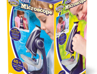 See the world in close-up with this illuminated Microscope. View the prepared slides magnified up 450 times! Booklet explains how you can prepare your own slides, just like in a laboratory. Includes over 40 pieces. Perfect for the young scientist.