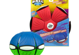 Throw a disc, catch a ball! Phlat Ball is a unique outdoor toy that transforms from a flying disc to a ball when you throw it. Its soft plastic, flexible material provides with a comfortable grip for active play.