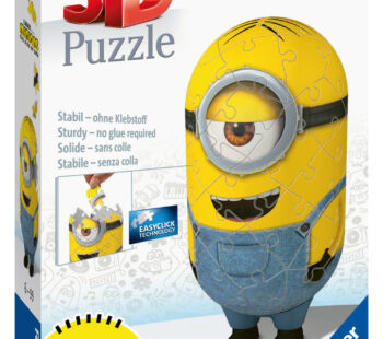 Piece together this shaped Minion in his cute little dungarees from the latest Movie Minions 2, the Rise of Gru. 54pc 3D puzzle measures 12 x 5cm when complete