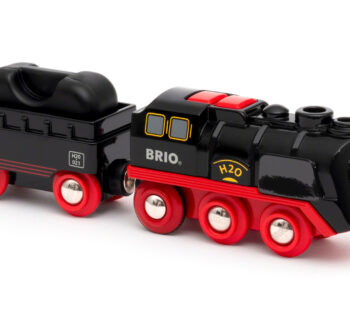 Chug around your BRIO World railway with realistic steam effects in the Battery-Operated Steaming Train. This battery-powered engine produces safe-to-touch steam from its chimney as it speeds down the tracks. Once you're out of water, you can easily refill.