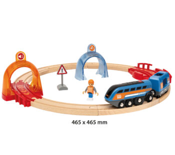 Take control with this 14-piece interactive toy train set with integrated Smart Tech Sound technology that automatically responds to the STS Record & Play Engine. With sound, lights and motion that activates through play.
