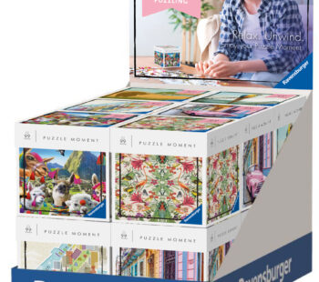 Collect all 6 Puzzle Moment 99-piece jigsaw puzzles, and sit back, relax and unwind with a jigsaw puzzle. The colourful and contemporary images are fun to piece together, while the cube-shaped box makes a fun gift.