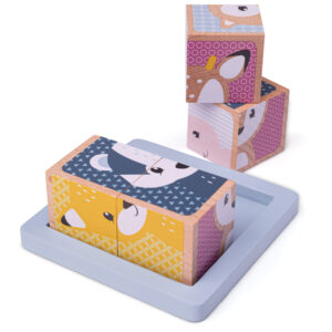 New to our FSC* Certified range, Woodland Cube Puzzle. Turn each cube around to find the pieces that make up an image, or mix them up for fun! Each chunky wooden puzzle piece is generously sized to make it easier