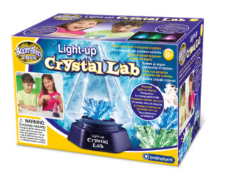 Carry out your own chemistry experiments and grow your own coloured crystals – clear, green and blue. Place a finished crystal into the pyramid light-up display which has a colour-changing LED base. Illuminate your crystal with seven different colours.