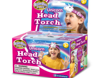 Pretty Unicorn-shaped head torch - press once for light and again for a beautiful sparkle sound. Two angles – straight for outdoor adventures, such as walking or camping and tilted for bedtime reading. With an adjustable strap that fits all.