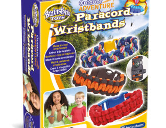 Make eight awesome paracord wristbands in eight bright colours. Includes eight buckles, two with built-in compass and whistle. Learn three fun knotting techniques – Cobra Stitch one colour, Cobra Stitch two colours and Fishtail Stitch. Great for your outdoor adventures.
