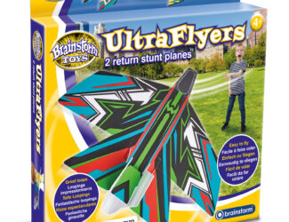 Two return stunt planes that really come back! Soft material for safe play. Easy to fly with great loops, boomerangs and barrel rolls. Two crazy designs to share with friends! Assemble in minutes and let them fly indoors or outdoors.