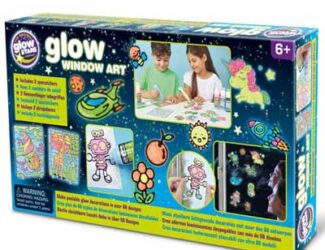 Make peelable glow window decorations in over 60 designs. Just copy the outline with liner paint and colour in with glow paint. Once dry, simply peel and display on any glass surface. Also includes two beautiful glow suncatchers.
