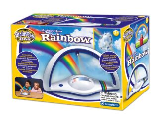Enchanting light projector uses multi-coloured LED's to display rainbow colours on walls and ceilings in a darkened room.  Includes a sunlight rainbow crystal.  Position in a sunny window and watch rainbows dance around your room.  Secret code unlocks multilingual facts.