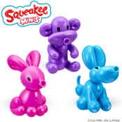 These interactive pets look like balloon animals, but they're bursting with personality! Squeakee Minis have a hilarious record and play-back feature, which makes any voice sound squeaky! Pet them to hear their balloon sounds and blow to hear them inflate!