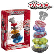 The aim of this game is to build the Totem Tower, stacking five spinning tops in size order. When the first top is launched, players must stack as many of the light-up spinners as possible before the Totem stops spinning!