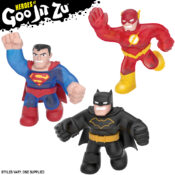 DC Super Heroes just got stretchier and squishier than ever before! Stretch these Heroes up to three times their size! Squish them and feel their cool goo fillings! Kids can collect Superman, Flash, Batman – and DC's ultimate villain – the Joker!