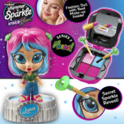 Girls can glam their doll, then themselves with InstaGlam Series 2, which introduces a cool Neon theme to the collection. There are six dolls to collect, each with a bright neon look. Open them to discover colourful makeup compacts inside.