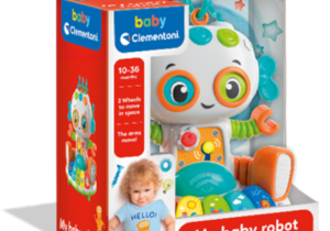 Cute robot with full of activities – 3 play modes and 3 expressions. 8 interactive buttons including animal sounds, colours, songs, and riddles. Press another button to watch him move around!