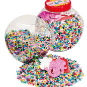 This reusable tub, available in pink and green, comes with approximately 15,000 assorted beads, 3 pegboards, coloured printed design sheet, instructions and ironing paper.