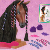 These fun Styling Heads have super long manes for grooming and styling!  Each Styling Head Includes: 1 styling booklet, 1 mane comb, 2 mane clips, 4 mane spirals, and 50 elastics.