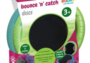 The two-coloured discs have hand holes for grip and a springy material middle, great fun used as throwing and catching discs just like a Frisbee