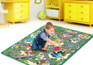 PVC coated, water resistant on both sides of the Play Mat, ideal for all weather OUTDOOR or perfect for INDOOR use. 6 designs to choose from; city, construction, farm, zoo, candyland, under the sea