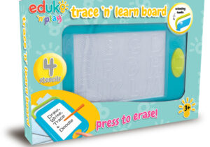 A Magnetic writing and drawing board with attached magnetic pen for freehand drawing. Includes 4 stencils for tracing letters A-Z, numbers and shapes with built in storage.
