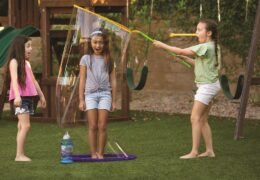 With Giant Gazillion Bubbles® Kid-In-A-Bubble, you can create a bubble big enough to fit a kid inside! Fill the tray with solution, dip and pull to create a giant bubble! With easy assembly and clean up, the fun never ends!