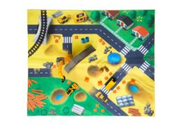 """Designed for the mini 3"""" push-powered Little Machines vehicles, the Cat Little Machines Construction Mat is soft and durable and lets your child use their imagination to excavate, transport materials, and build around the construction site!"""