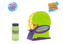The Rollin' Wave is latest in the battery-powered Gazillion Bubbles machines. It's a super-cool gadget that pumps out waves of bubbles for families to enjoy!