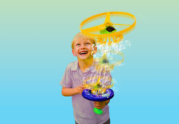 Introducing Gazillion Sky Bubbles. Fill the built-in, spill-proof tray with solution, pull the cord and a generous stream of bubbles will be launched into the sky! Requires no batteries, and it even comes with bubble solution for instant play value.