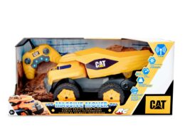 """The future of construction is here with the 16"""" Massive Mover RC vehicle. This futuristic dump truck will race around at speeds of up to (80 scale MPH). With LED headlights for visibility. It perfect for indoor or outdoor play."""