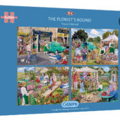 With four 500 piece puzzles in one box, you'll be taken on a journey with Daisy Rose, the village Florist. Lovingly painted by Trevor Mitchell and presented in a planet-friendly box.