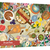 The White Logo Collection.  G4600 Dream Picnic 636pc Puzzle - The White Logo Collection.  What could be dreamier than an alfresco lunch in the Mediterranean sun? Adorned with sweet treats and a glass of vino, this puzzle is a mouth-watering treat. By Bethany Lord.
