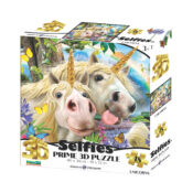 Selfie Unicorn 48pc Prime 3D puzzle using the latest 3D lens to give great depth and motion to the image. Puzzle size 46cm x 31cm. Item code: HR10990. Ages 3+