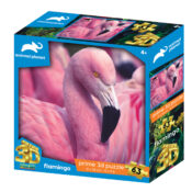 Animal planet Pink Flamingo 63pc Prime 3D puzzle using the latest 3D lens to give great depth and motion to the image. Puzzle size 31cm x 23cm. Item code: AP13674. Ages 4+
