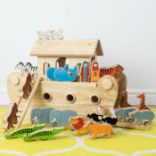 The original natural wood Noah's ark; every deluxe Lanka Kade ark is beautifully handcrafted by artisans in Sri Lanka from sustainble rubber wood and eco friendly materials. Compatible with individual animal ranges for a unique fair trade wooden toy.