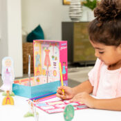 Choose an outfit from this set's 100 clothing pieces, colour in the pieces, dress the paper dolls and then set up a chic boutique. Keep the packaging – it converts into the chic boutique playset.
