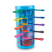 The fun 3D way to learn fractions, volume, and capacity. Each durable cup has a colourful base. Look through the clear sides when filling with water or dry materials! Cups store neatly in the storage base.