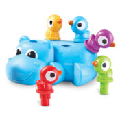 Huey the Fine Motor  Hippo -  Help toddlers build four skills through play – fine motor, early number learning, colour identification, and shape recognition. When children pop the colourful twistable birds into Huey's back, they practise hand-eye coordination, and build hand strength.